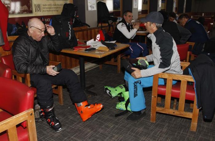 JIm Morris and Dallas Goldsmith of Goldsmith's Sports working hard